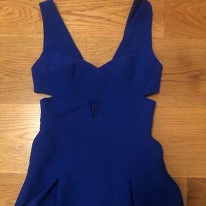 BCBGMAXAZRIA blue cut out dress